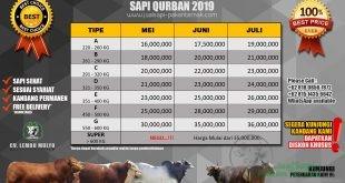 PRICELIST PROMO SAPI QURBAN 2019 Jakarta